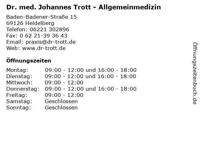 Dr. med. Johannes Trott - Allgemeinmedizin in Heidelberg: Adresse und Öffnungszeiten