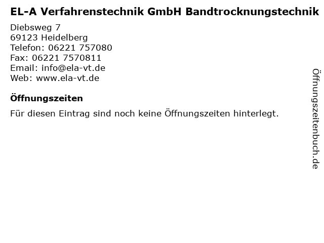 EL-A Verfahrenstechnik GmbH Bandtrocknungstechnik in Heidelberg: Adresse und Öffnungszeiten