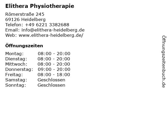 Elithera Physiotherapie in Heidelberg: Adresse und Öffnungszeiten
