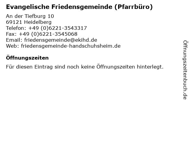 Evangelische Friedensgemeinde (Pfarrbüro) in Heidelberg: Adresse und Öffnungszeiten