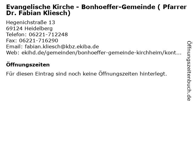 Evangelische Kirche - Bonhoeffer-Gemeinde ( Pfarrer Dr. Fabian Kliesch) in Heidelberg: Adresse und Öffnungszeiten