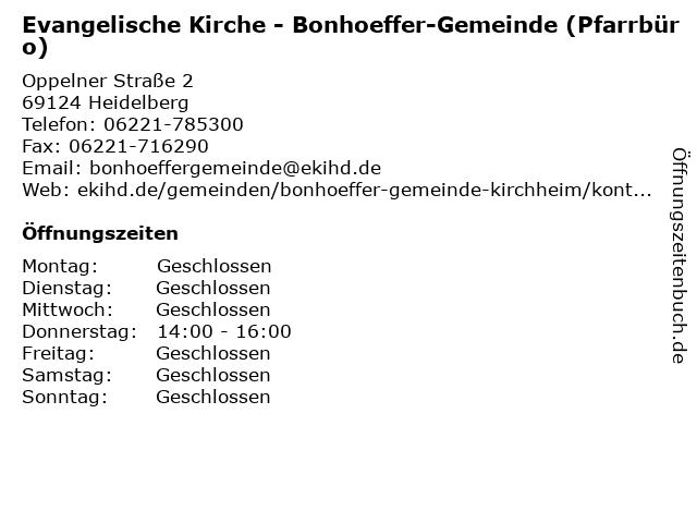 Evangelische Kirche - Bonhoeffer-Gemeinde (Pfarrbüro) in Heidelberg: Adresse und Öffnungszeiten