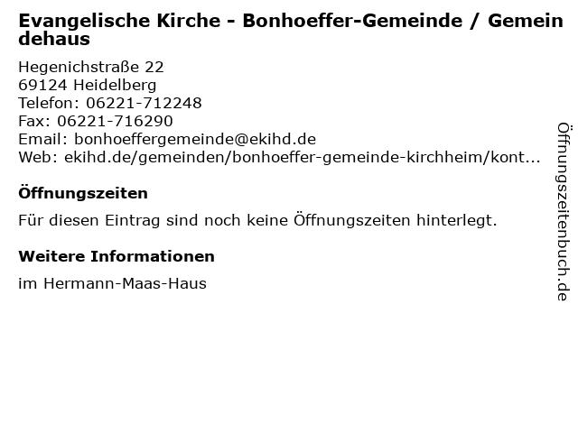 Evangelische Kirche - Bonhoeffer-Gemeinde / Gemeindehaus in Heidelberg: Adresse und Öffnungszeiten
