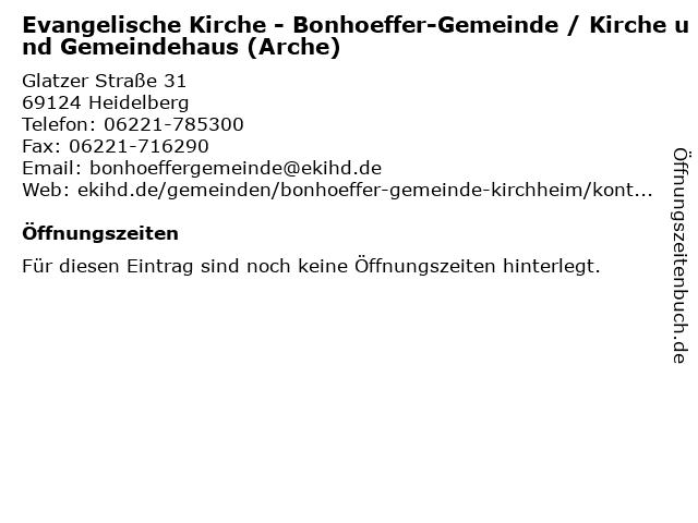 Evangelische Kirche - Bonhoeffer-Gemeinde / Kirche und Gemeindehaus (Arche) in Heidelberg: Adresse und Öffnungszeiten