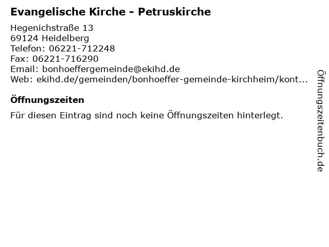 Evangelische Kirche - Petruskirche in Heidelberg: Adresse und Öffnungszeiten