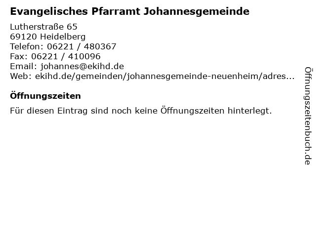 Evangelisches Pfarramt Johannesgemeinde in Heidelberg: Adresse und Öffnungszeiten