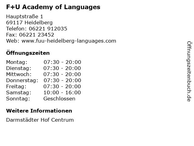 F+U Academy of Languages in Heidelberg: Adresse und Öffnungszeiten