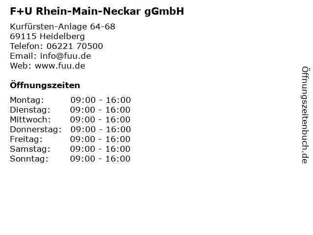 F+U Rhein-Main-Neckar gGmbH in Heidelberg: Adresse und Öffnungszeiten