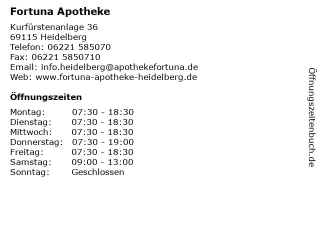 Fortuna Apotheke in Heidelberg: Adresse und Öffnungszeiten