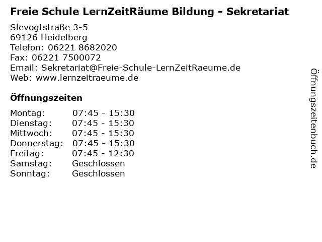 Freie Schule LernZeitRäume Bildung - Sekretariat in Heidelberg: Adresse und Öffnungszeiten