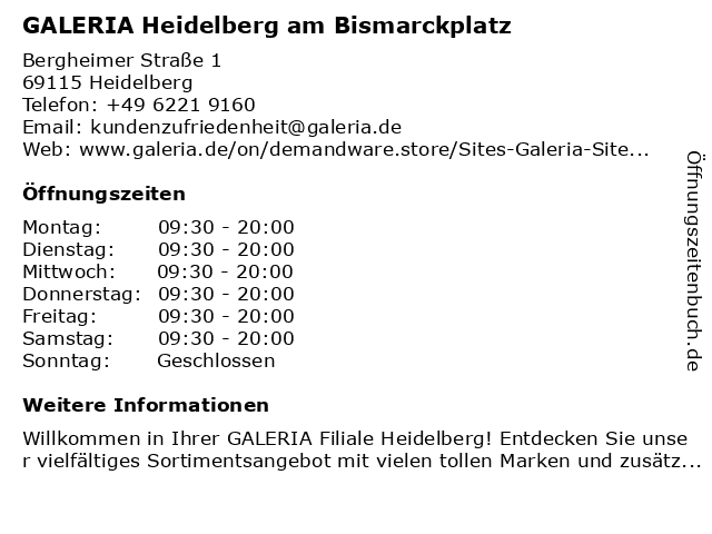 GALERIA (Kaufhof) Heidelberg Am Bismarckplatz in Heidelberg: Adresse und Öffnungszeiten
