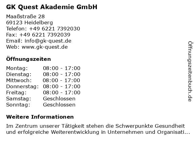 GK Quest Akademie GmbH in Heidelberg: Adresse und Öffnungszeiten