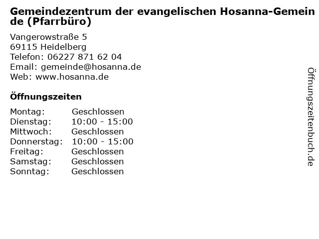 Gemeindezentrum der evangelischen Hosanna-Gemeinde (Pfarrbüro) in Heidelberg: Adresse und Öffnungszeiten