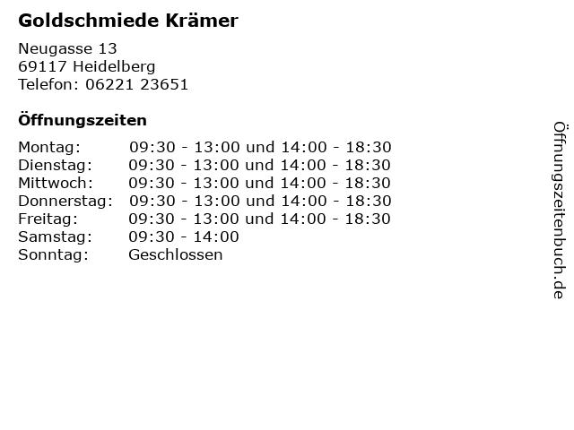 Goldschmiede Krämer in Heidelberg: Adresse und Öffnungszeiten