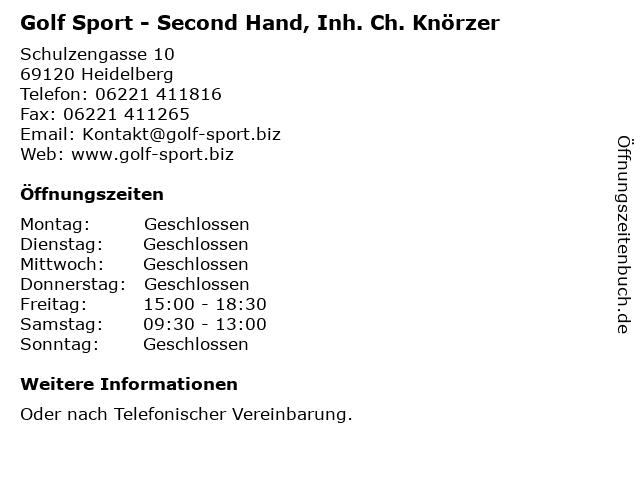 Golf Sport - Second Hand, Inh. Ch. Knörzer in Heidelberg: Adresse und Öffnungszeiten