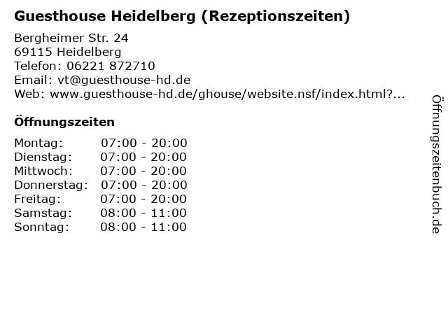 Guesthouse Heidelberg (Rezeptionszeiten) in Heidelberg: Adresse und Öffnungszeiten