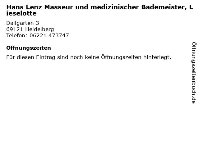 Hans Lenz Masseur und medizinischer Bademeister, Lieselotte in Heidelberg: Adresse und Öffnungszeiten