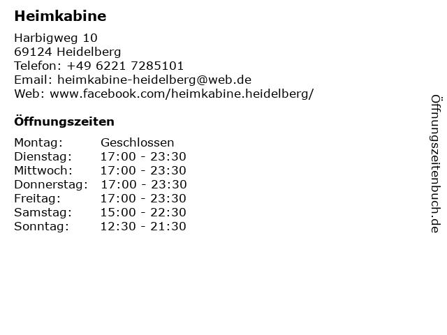 Heimkabine in Heidelberg: Adresse und Öffnungszeiten