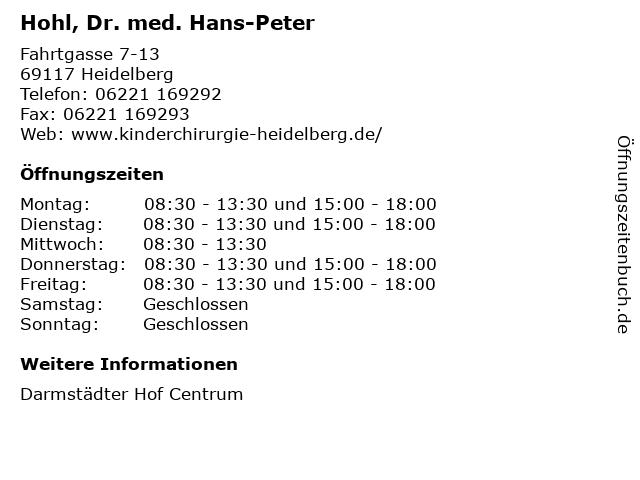Hohl, Dr. med. Hans-Peter in Heidelberg: Adresse und Öffnungszeiten