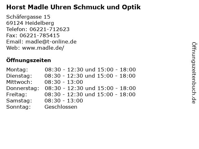 Horst Madle Uhren Schmuck und Optik in Heidelberg: Adresse und Öffnungszeiten