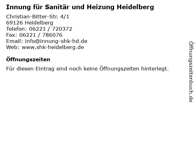 Innung für Sanitär und Heizung Heidelberg in Heidelberg: Adresse und Öffnungszeiten