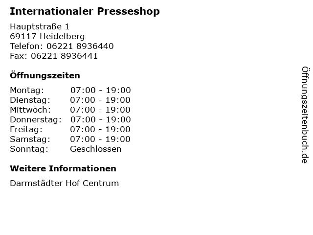 Internationaler Presseshop in Heidelberg: Adresse und Öffnungszeiten