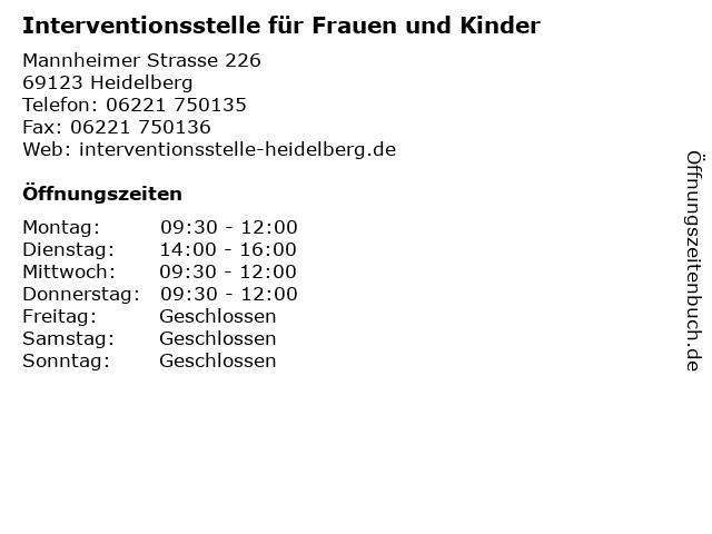 Interventionsstelle für Frauen und Kinder in Heidelberg: Adresse und Öffnungszeiten