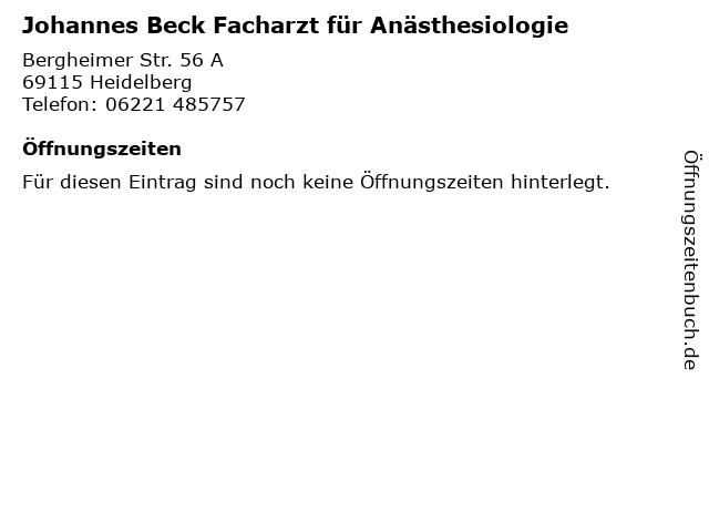 Johannes Beck Facharzt für Anästhesiologie in Heidelberg: Adresse und Öffnungszeiten