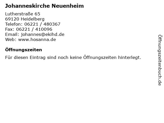 Johanneskirche Neuenheim in Heidelberg: Adresse und Öffnungszeiten