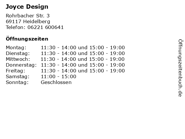 Joyce Design in Heidelberg: Adresse und Öffnungszeiten