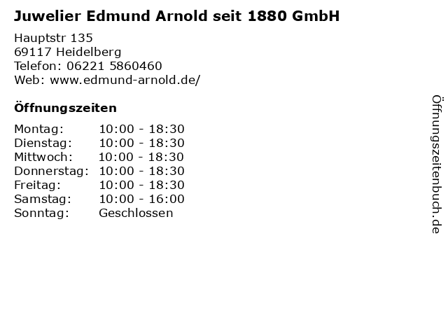 Juwelier Edmund Arnold seit 1880 GmbH in Heidelberg: Adresse und Öffnungszeiten
