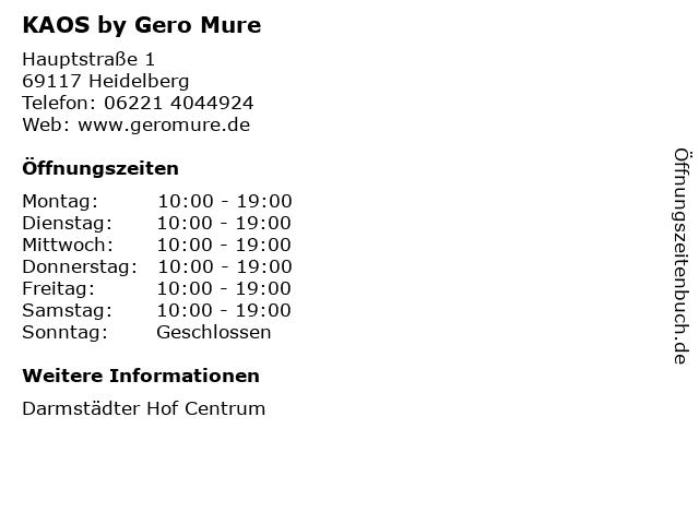 KAOS by Gero Mure in Heidelberg: Adresse und Öffnungszeiten