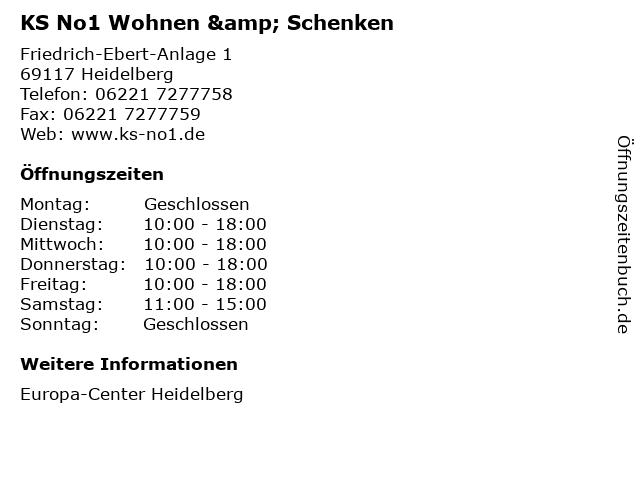 KS No1 Wohnen & Schenken in Heidelberg: Adresse und Öffnungszeiten