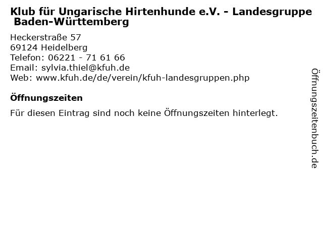 Klub für Ungarische Hirtenhunde e.V. - Landesgruppe Baden-Württemberg in Heidelberg: Adresse und Öffnungszeiten