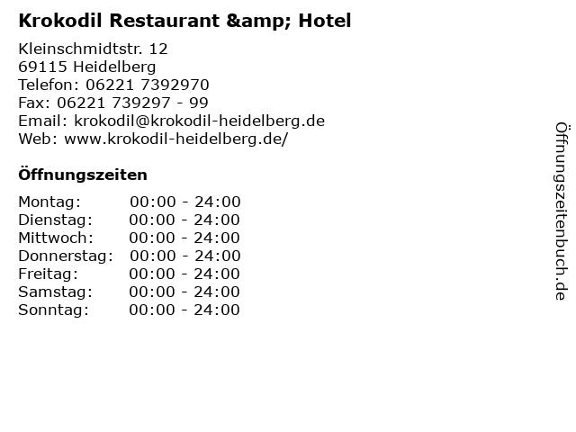 Krokodil Restaurant & Hotel in Heidelberg: Adresse und Öffnungszeiten