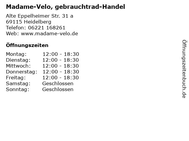 Madame-Velo, gebrauchtrad-Handel in Heidelberg: Adresse und Öffnungszeiten