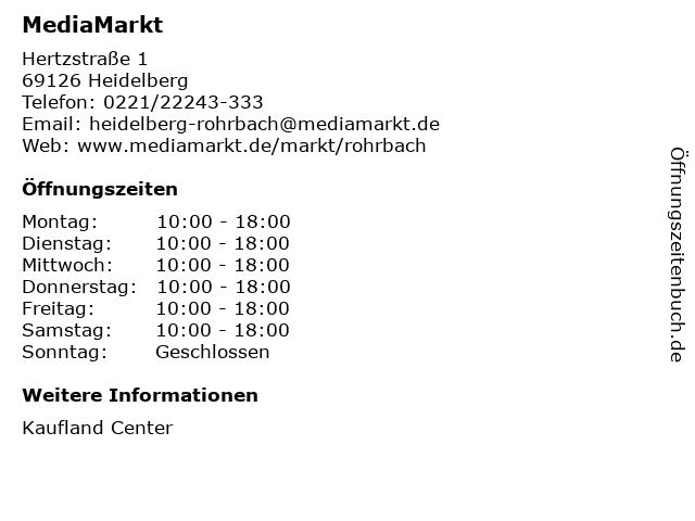 MediaMarkt in Heidelberg: Adresse und Öffnungszeiten