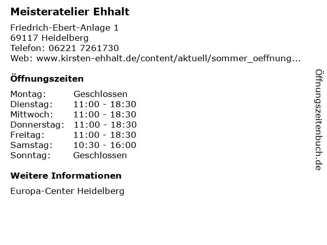Meisteratelier Ehhalt in Heidelberg: Adresse und Öffnungszeiten