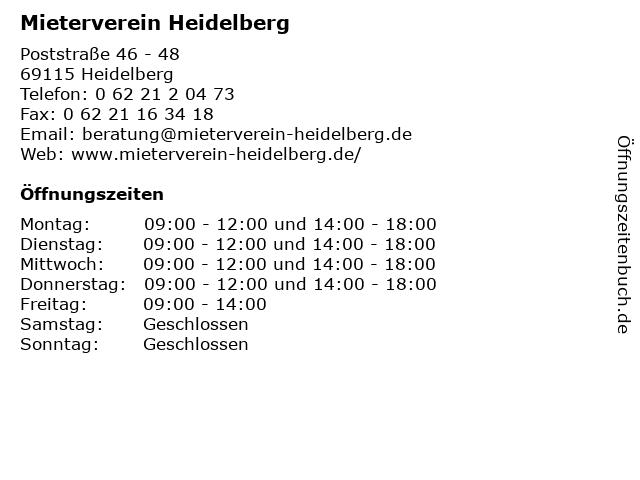 Mieterverein Heidelberg in Heidelberg: Adresse und Öffnungszeiten