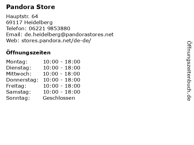 Pandora Store Heidelberg in Heidelberg: Adresse und Öffnungszeiten
