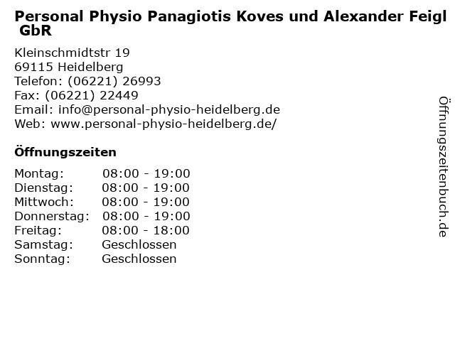 Personal Physio Panagiotis Koves und Alexander Feigl GbR in Heidelberg: Adresse und Öffnungszeiten