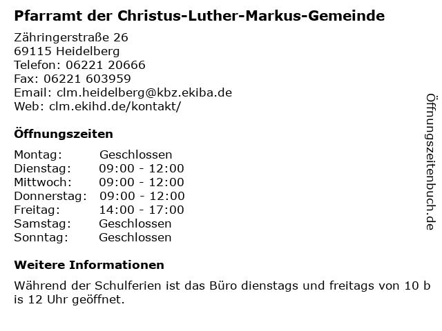 Pfarramt der Christus-Luther-Markus-Gemeinde in Heidelberg: Adresse und Öffnungszeiten
