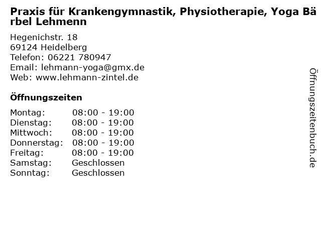 Praxis für KG/PT - Bärbel Lehmann und Bodo Zintel in Heidelberg: Adresse und Öffnungszeiten