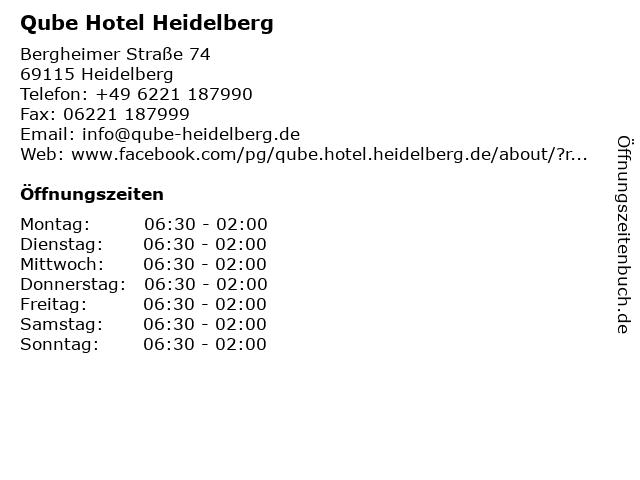 Qube Hotel Heidelberg in Heidelberg: Adresse und Öffnungszeiten