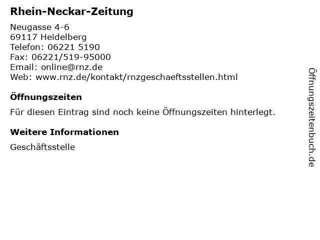Rhein-Neckar-Zeitung in Heidelberg: Adresse und Öffnungszeiten