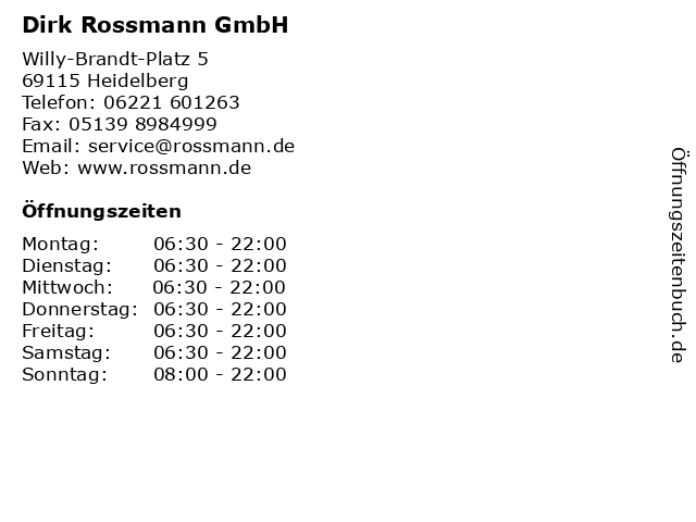 Rossmann in Heidelberg: Adresse und Öffnungszeiten