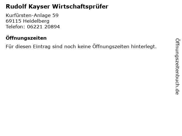 Rudolf Kayser Wirtschaftsprüfer in Heidelberg: Adresse und Öffnungszeiten