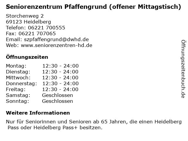 Seniorenzentrum Pfaffengrund (offener Mittagstisch) in Heidelberg: Adresse und Öffnungszeiten