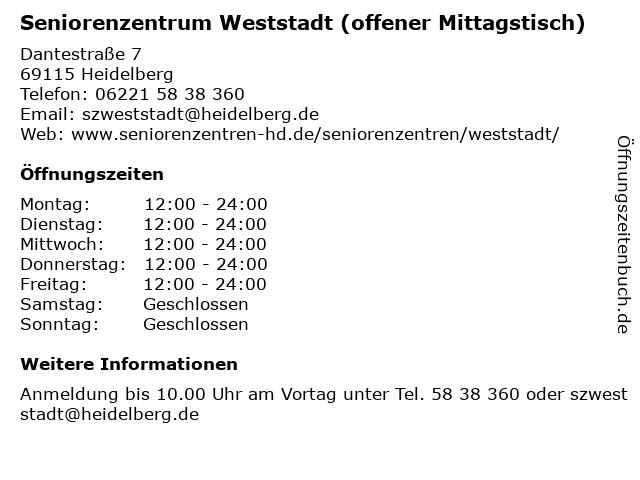 Seniorenzentrum Weststadt (offener Mittagstisch) in Heidelberg: Adresse und Öffnungszeiten