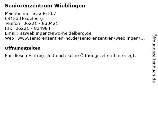 Seniorenzentrum Wieblingen in Heidelberg: Adresse und Öffnungszeiten